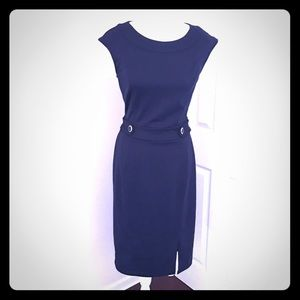 NY&Co Navy Fitted Office and More Midi Dress